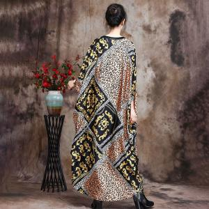 Senior Women Leopard Prints Dress Silky Large Spring Cocoon Dress