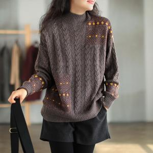 High Neck Folk Pattern Cotton Sweater Oversized Cable Knit Sweater