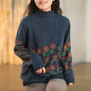 Flowers Patterns Mock Neck Sweater Vintage Knit Sweater