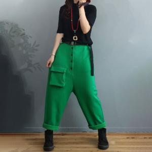 Button Down Thick Cotton Loose Pants Pockets Fleeced Trousers