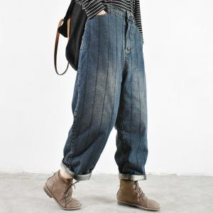 Vertical Striped Baggy Dad Jeans Cotton Quilted Winter Jeans