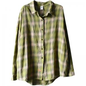 Back Letter Prints Plus Size Shirt Korean Plaid Cotton Shirt