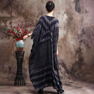 V-Neck Chunky Striped Church Dress Silk Plus Size Modest Clothing