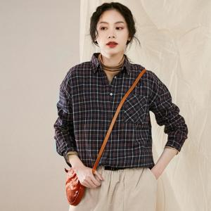 Preppy Style Casual Cotton Shirt British Gingham Blouse
