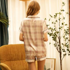 Classical Plaid Pajama Sets Summer Silk Sleepwear