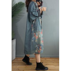 Red Flowers Vintage Denim Coat Plus Size Chinese Denim Dress