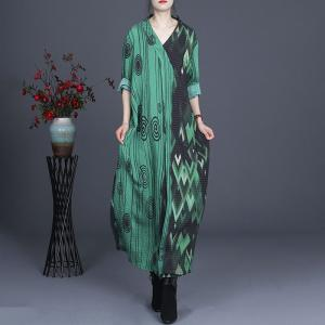 Silk Linen V-Neck Shift Dress Abstract Printed Loose Clothing