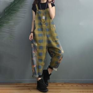 Classic Plaids Overalls Casual Printed One-Piece Jeans for Women