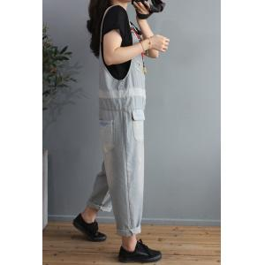Light Blue Pinstriped Overalls Relax-Fit Light Wash Jean Dungarees