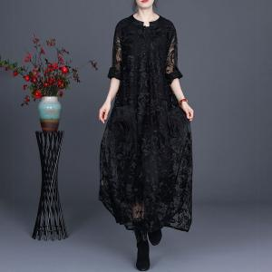 Beautiful Gauze Embroidered Maxi Dress Applique Pockets Sheer Dress