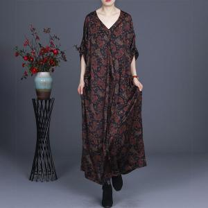 Over50 Style Printed Satin Dress V-Neck Plus Size Maxi Dress