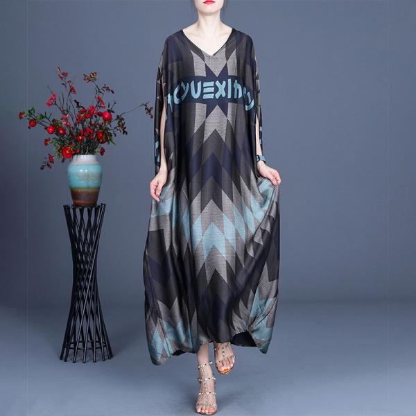 Letter Prints Blue Rhombus Silk Dress Black Church Cocoon Dress