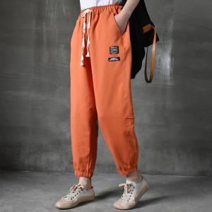 Sports Style Cotton Joggers Drawstring Waist Casual Sweat Pants for Women