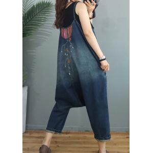 Ethnic Embroidery Harem Overalls Color Fading Blue Overalls
