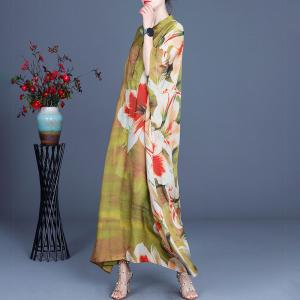 Stand Collar Big Flowers Spring Dress Silky Loose Vacation Dress