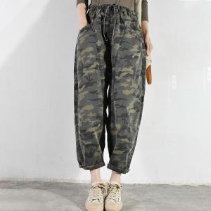 Baggy-Fit Womens Camo Jeans Korean Fluffy Jeans