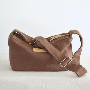 Solid Colors Jute Canvas Shoulder Bag Womens Messenger Bag