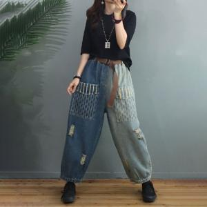 Contrast Colored Baggy Ripped Jeans Striped Pockets Slouchy Boyfriend Jeans