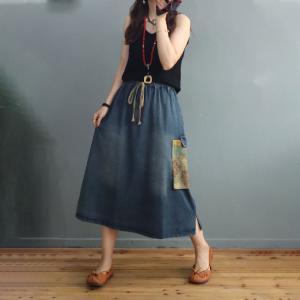 Printed Patchwork Pull-On Skirt Denim A-Line Skirt