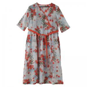 Red Floral Tied Up Kimono Dress Flax Chinese Beach Dress