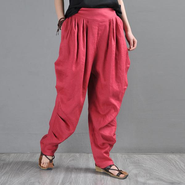 Bright Colors Red Beach Pants Loose Tapered Flax Trousers
