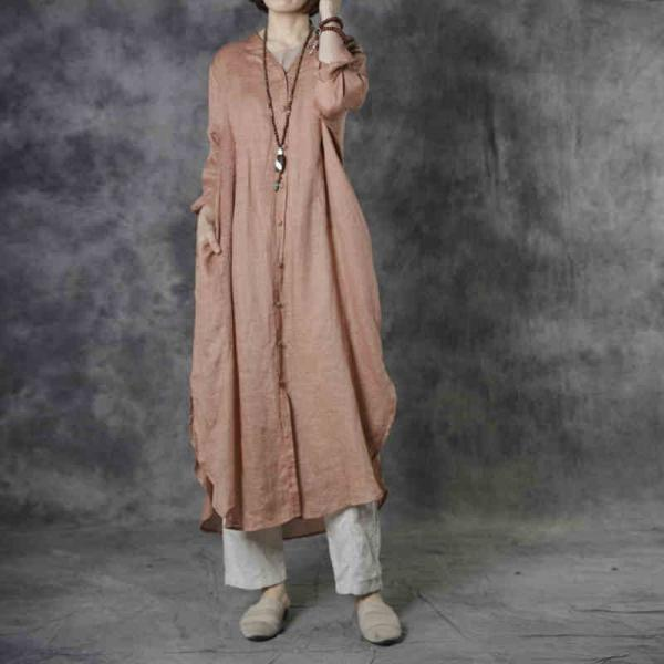 Single-Breasted Embroidered Clothing Ramie Loose Shirt Dress