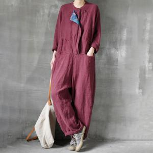 Loose Fit Linen Jumpsuits Summer Long Plus Size Rompers