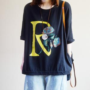 Rose and Letter Large Casual T Shirt Summer Cotton Tunic Tee