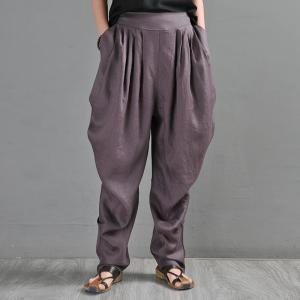 Beach Style Draped Tapered Pants Linen Designer Trousers