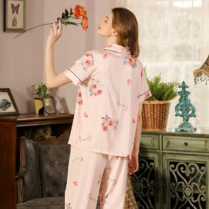 Red Rose Short Sleeves Pajamas Top with Long Silk Pants