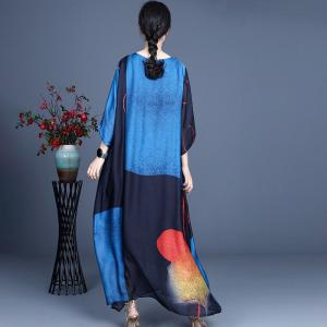 Pop Colored Contrast Silk Summer Dress Maxi Loose Cruise Wear