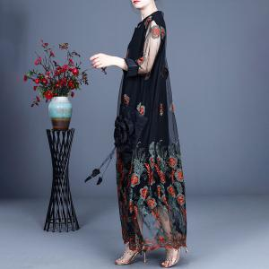 High-End Elegant Embroidery Dress Maxi Sheer Maxi Dress