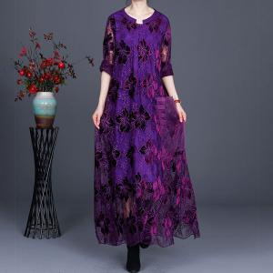 Over50 Style Loose Embroidery Clothing Balloon Long Lace Dress
