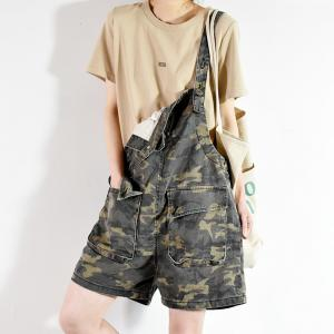 Front Flap Pockets Camo Rompers Summer Denim Playsuit