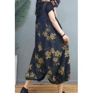 Artistic Printed Plus Size Balloon Pants Printed Denim One-Piece Pants