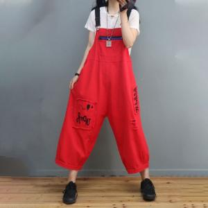 Letter Patchwork Farm Overalls Distressed Adjustable Straps Dungarees