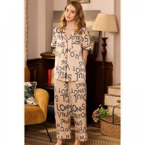 Fashion Letter Satin Sleepwear Top with Silky Wide Leg Ankle Pants